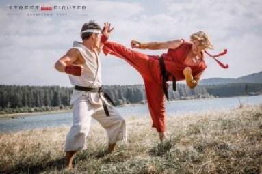 Ken and Ryu practice Ansatsuken