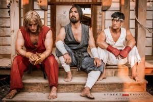 Master Gouken (centre) with Ken and Ryu