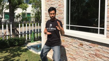 Kazu in a rather fetching T-shirt!