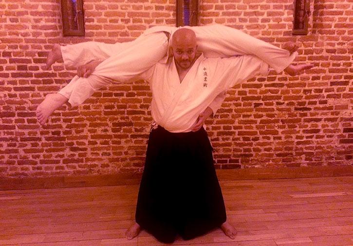 Showing off the classic Kata Guruma (Shoulder Wheel)