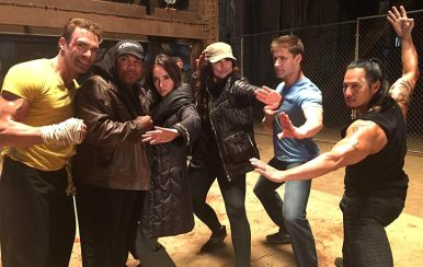 Larnell and the Kickboxer crew alongside the late Darren Shahlavi
