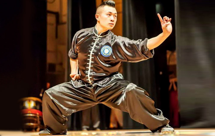 Performing traditional wushu