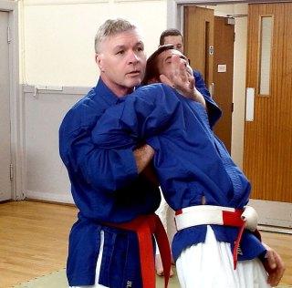 Hanshi Wilson demonstrates an effective choke hold