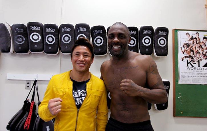 Idris Elba with K1 Kickboxing legend Masato