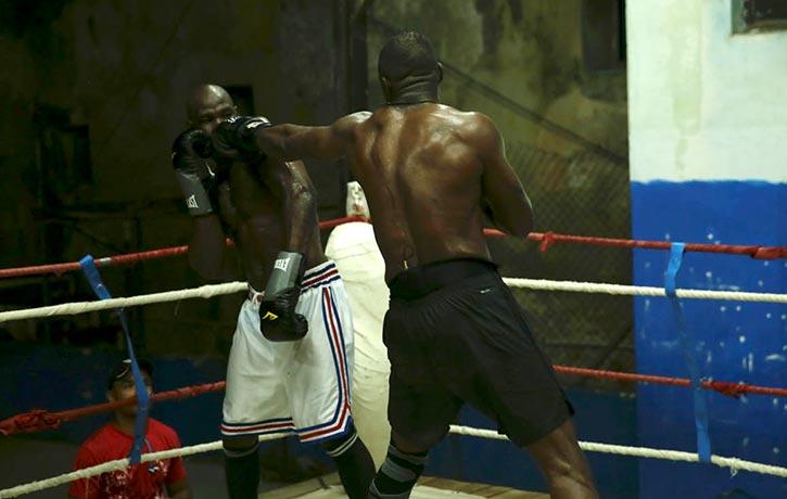 Idris lands a jab on Cuban Olympic boxing medallist Emilio Correa