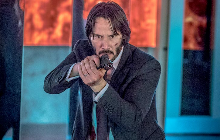 Keanu really knows how to handle the fireams