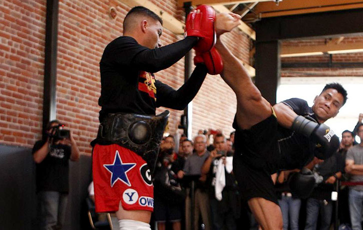 Cung demonstrates his high impact kicks!