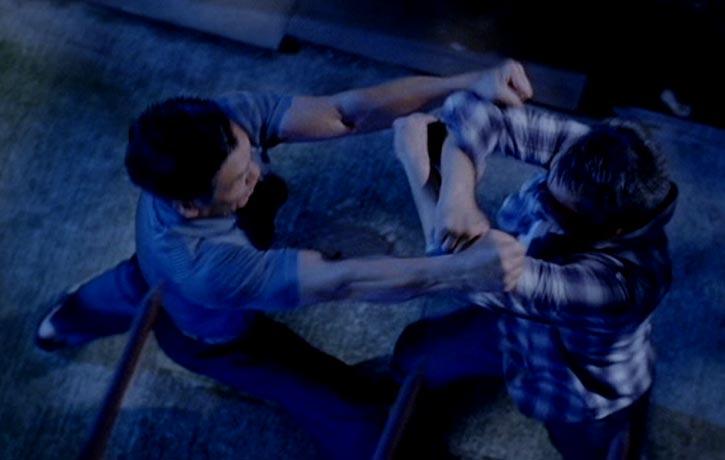 The alleyway brawl is slick