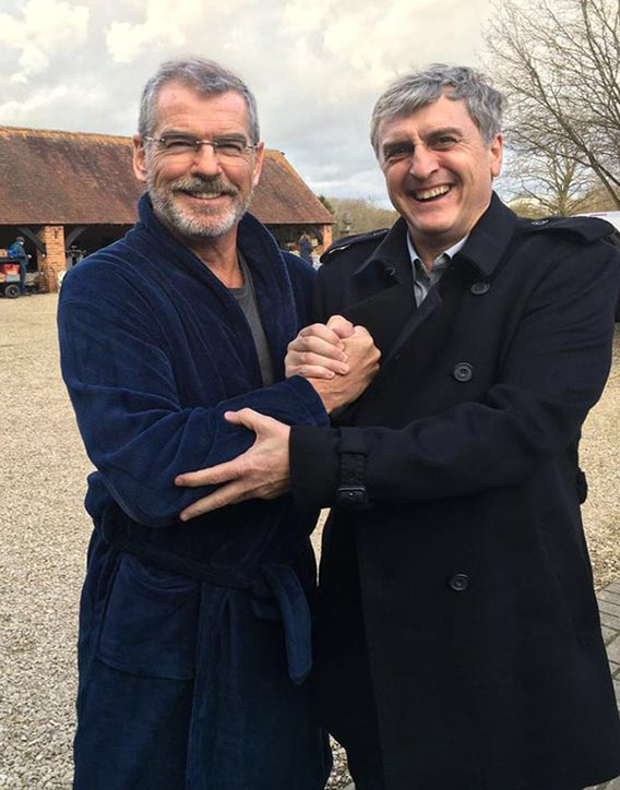 Pierce Brosnan in between takes at the Farmhouse location