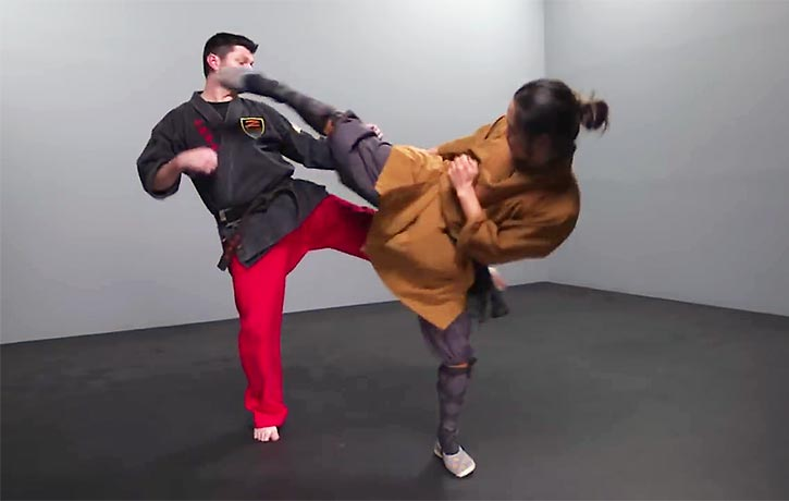 Shifu Wang demonstrates the kicking techniques of kung fu