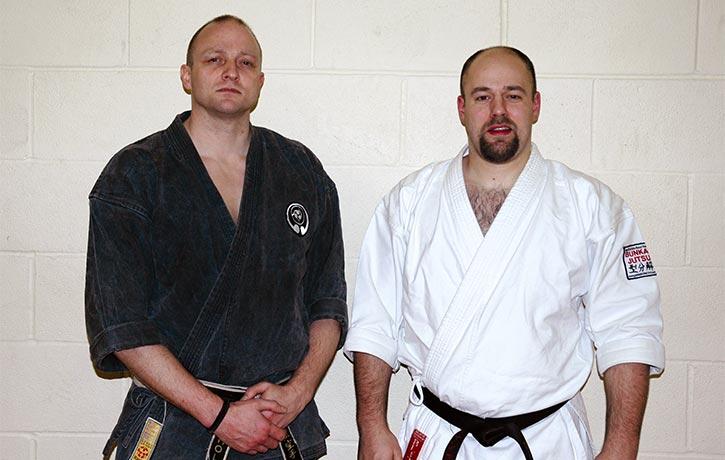 Gavin Mulholland with fellow karate pro Iain Abernethy