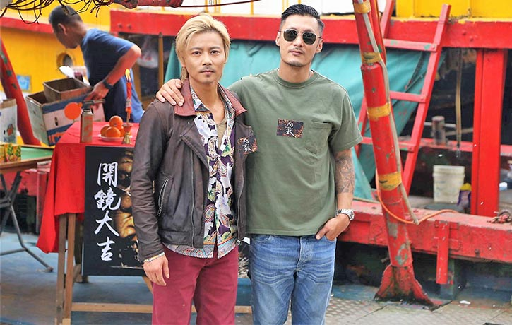 Max Zhang Jin and Shawn Yue on set