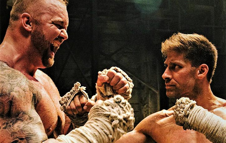 Alain faces off with Hafthor Bjornsson in Kickboxer Retaliation