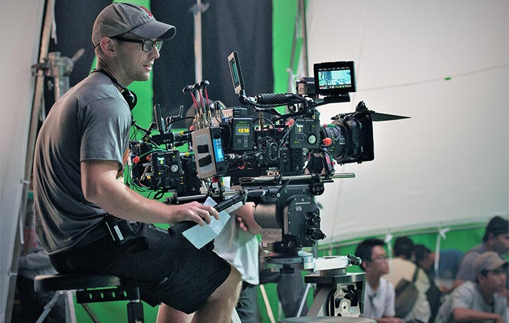 Liam directing the dynamic sci-fi action thriller Beyond Skyline