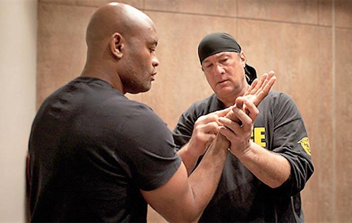 Steven Seagal trains MMA legend Anderson Silva