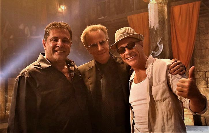 Dimitri with Jean-Claude Van Damme & Christopher Lambert on the set of Kickboxer Retaliation