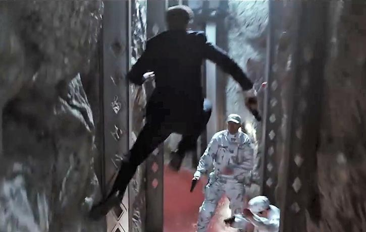Eggsy leaps over his obstacles