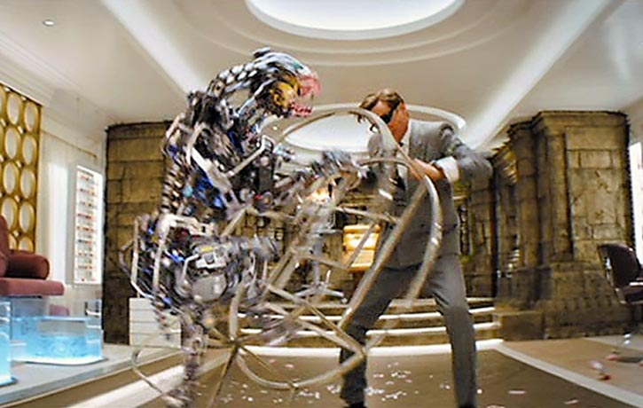 Harry holds off one of Poppy Adams' vicious robo-dogs