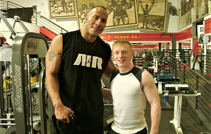 Mike side by side with The Rock!