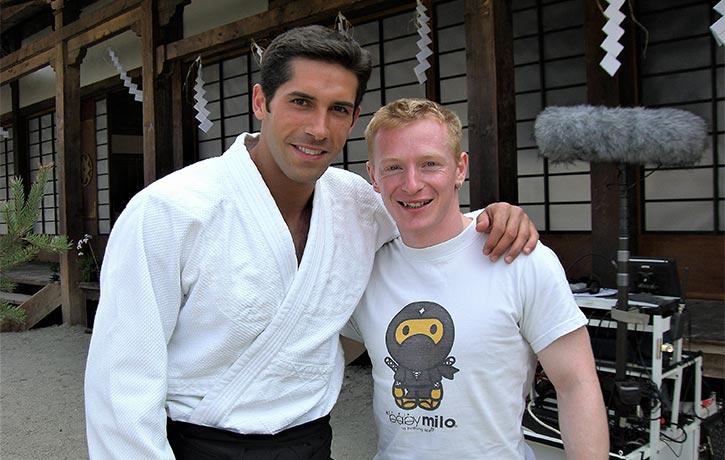 Mike with Scott Adkins on the set of Ninja