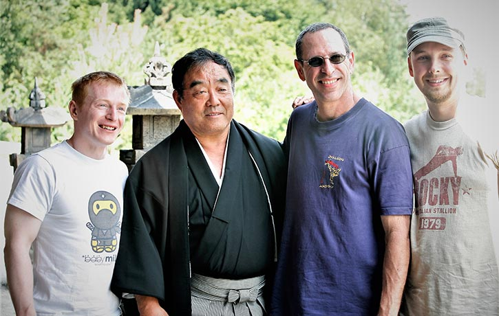 Mike with many legends on the set of Ninja!