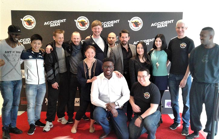 Scott Adkins with guests and organisers at the UK Premier of Accident Man