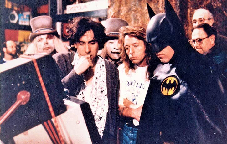 Dave Lea Michael Keaton and Tim Burton viewing the playback action