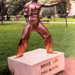 The world's first Bruce Lee statue was erected in Zrinjevac City Park, Mostar, in Bosnia - November 27, 2005 - KPZfoto