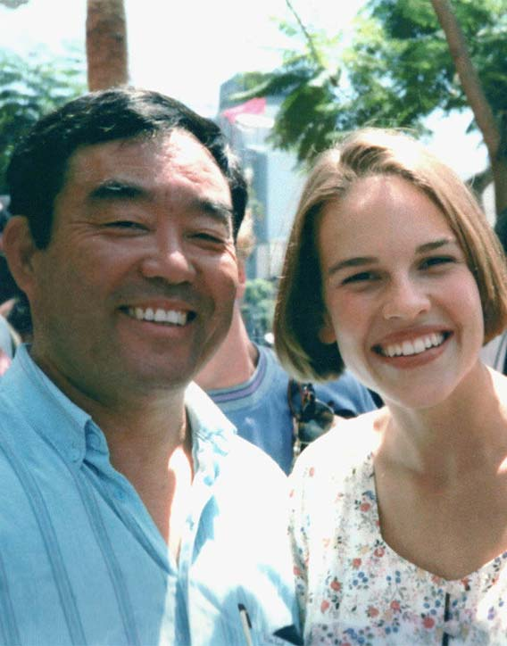 Fumio with Hilary Swank