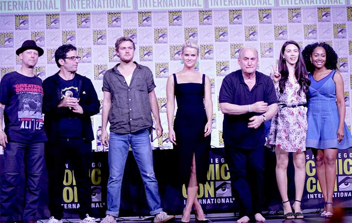 Clayton with Raven Metzner, Jeff Loeb, and the cast of Iron Fist at the 2018 San Diego Comic Con
