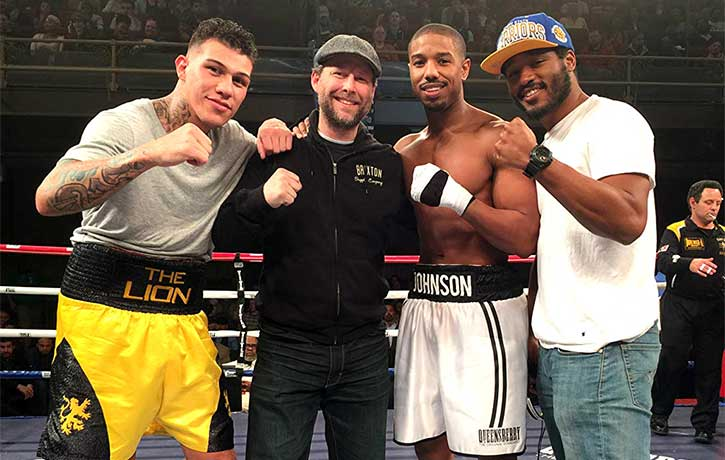 Clayton with Tony Bellew, Michael B. Jordan, and Ryan Coogler on the set of Creed