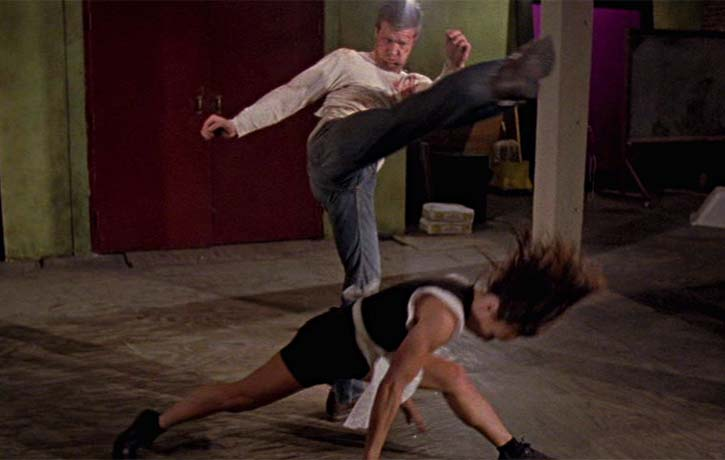 That's one way to dodge a roundhouse kick!