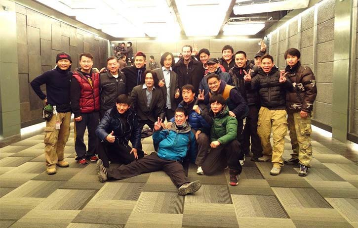 Jon with Keanu Reeves, Tiger Chen, & a lot of talented stunt people on the set of Man of Tai Chi!