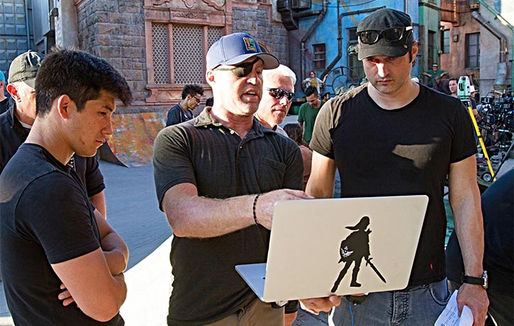 Garrett and Robert Rodriguez work out the next scene