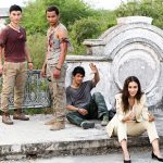 Tony catches a breath with Tiger Chen, Iko Uwais, and Celina Jade in Triple Threat
