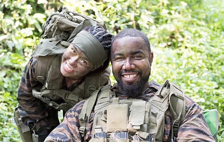 Jeeja with Michael Jai White on the set of Triple Threat