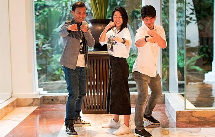 Jeeja with Tony Jaa and Iko Uwais