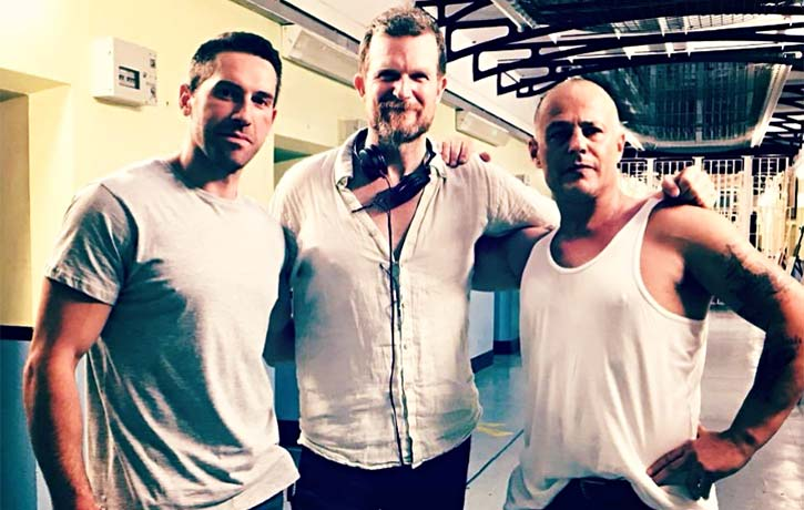 Scott with Jesse Johnson and Louis Mandylor on the set of Avengement
