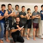 Chris trains his students to master the art of knife combat