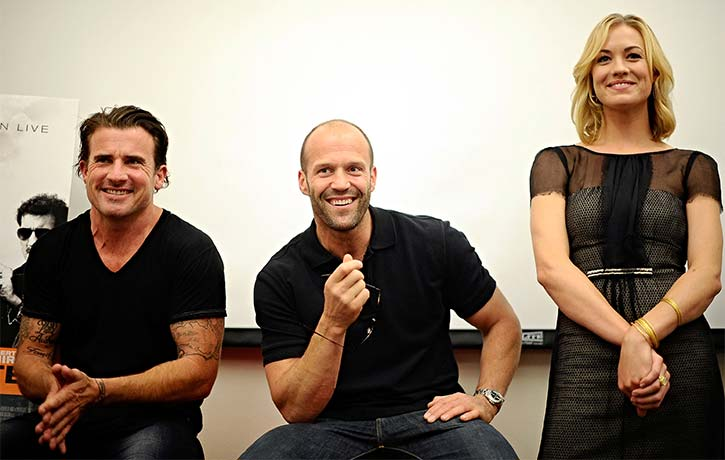 Dominic Purcell, Jason Statham and Yvonne Strahovski all smiles!