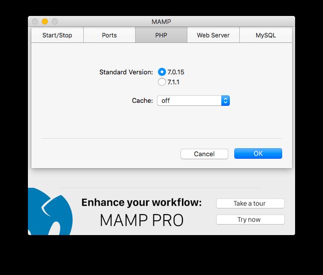 PHPのバージョン選択画面。7.1.1から7.0.15に変更