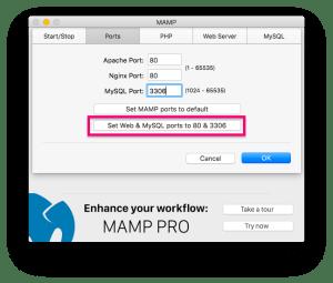 MAMP起動後の画面一番左Preferencesから設定に入り、Portsタブで設定する