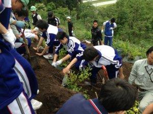 九里学園学校林植樹