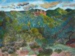 Das Aquarell Blick auf Altdahn zeigt den Blick von einem Felsen im Pfälzer Wald auf die Burgruine Altdahn