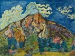 Aquarell von einem Berg in den Pyrenäen