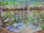 Erster Frühling am See, Aquarell Joachim Welsch