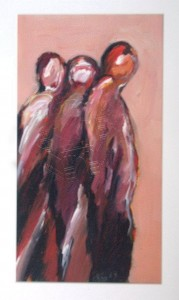 Cox , Richard KS 510 28.7.1950 Holmfirth/GB - Soest Conspirators III Malerei, Acryl auf Karton, unter Glas gerahmt 1991 39,5x21,5 61,5x43 Zwei Figuren, ppa Figur