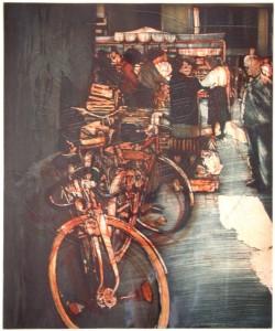 Cox , Richard KS 513 28.7.1950 Holmfirth/GB - Soest Market day Grafik, Farbaquatintaradierung Zustandsdruck unter Glas gerahmt 1986 48,5x39,5 71,5x5x56,5 Innenstadt von Soest, Plattenrand Landschaft