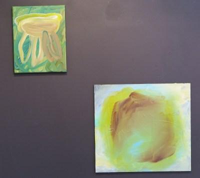 Jellyfish forestwalker, acryl op doek, 2015 Sleeping Chameleon, acry op board, 2015