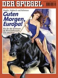 Kaft Der Spiegel 29 mei 2000. Laetitia Casta houd de Europese vlag vast schrijlings gezeten op een stier